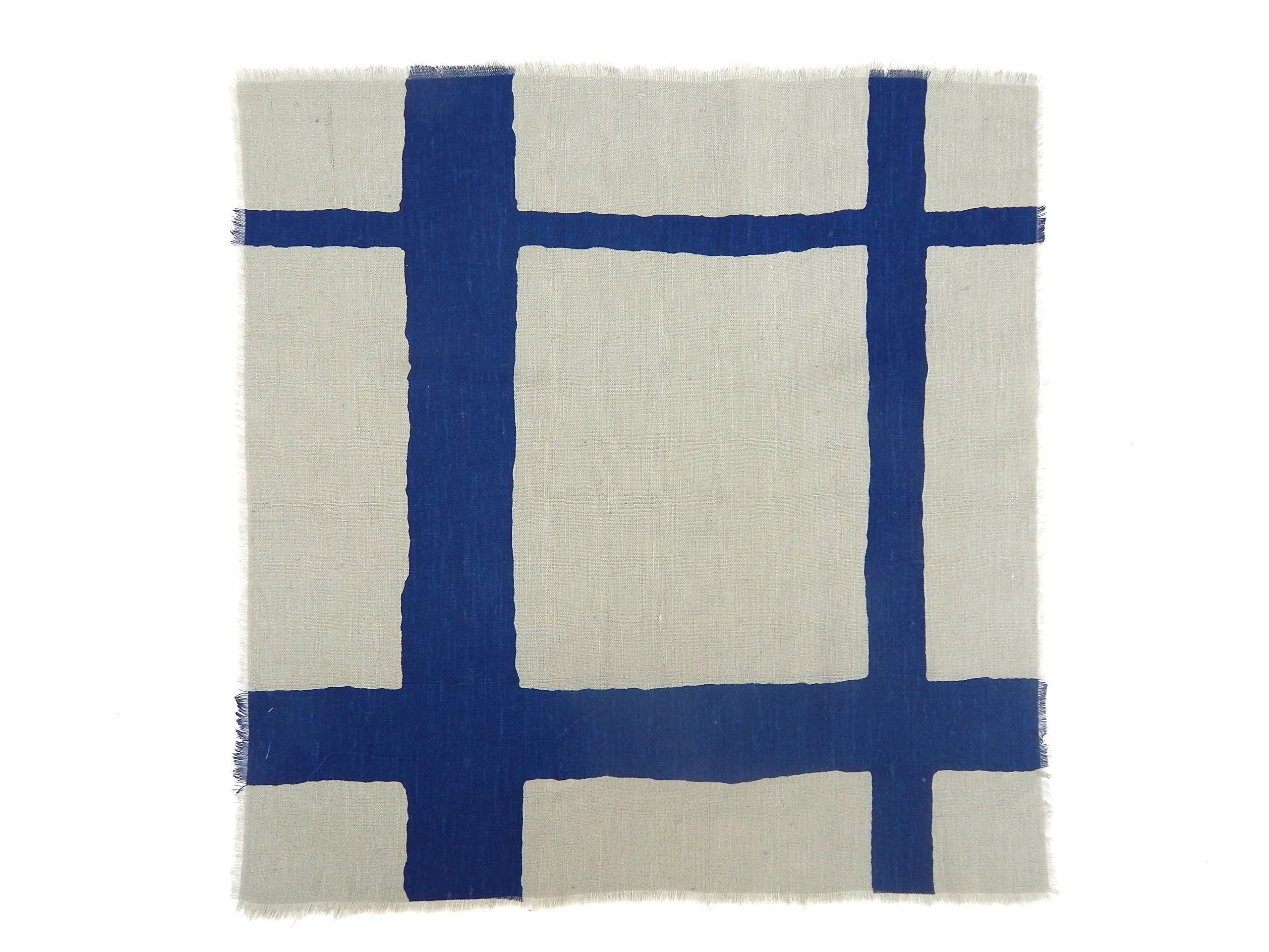 Gitika Goyal Home Windows Collection Cotton Khadi  Grey Napkin 17x17 Checks Design, Blue Hand Screen Print