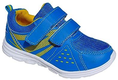GIBRA® Kinder Sportschuhe, mit Klettverschluss, weiße Sohle, blaugelb, Gr. 26 36