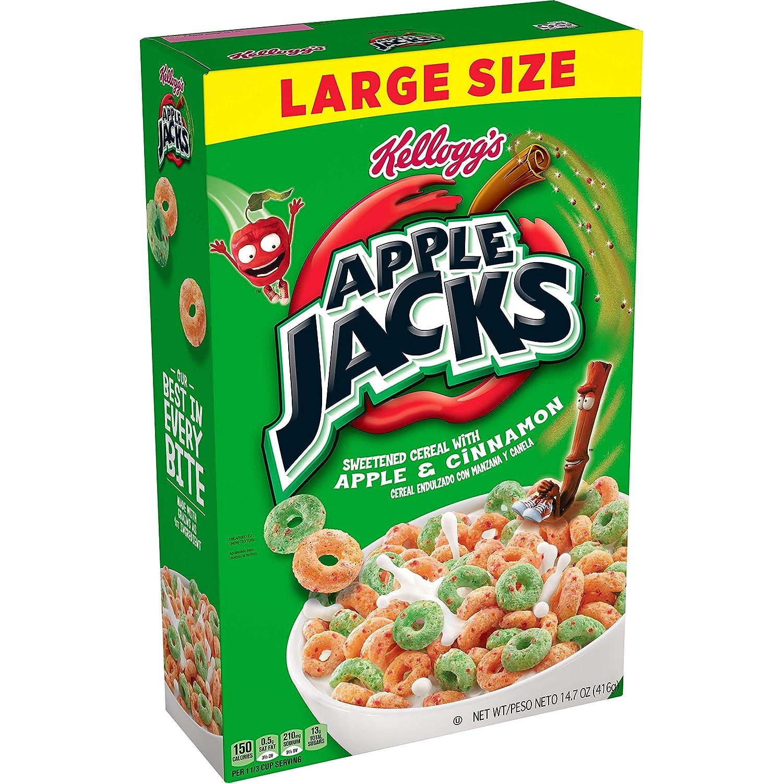 Kellogg's Apple Jacks, Breakfast Cereal, Original, Good Source of 8 Vitamins and Minerals, Large Size, 14.7oz Box