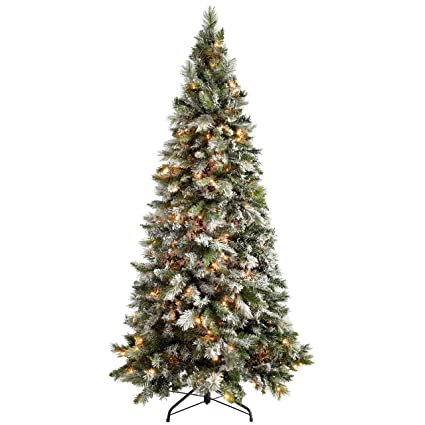 Werchristmas Pre Lit Slim Snow Flocked Spruce Multi Function