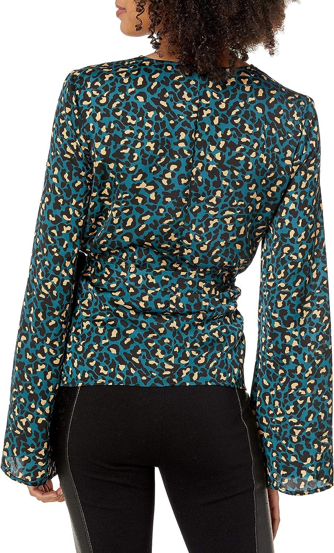 BCBGeneration Womens Animal Print Bell Sleeve Blouse Wrap Top Shirt BHFO 4767