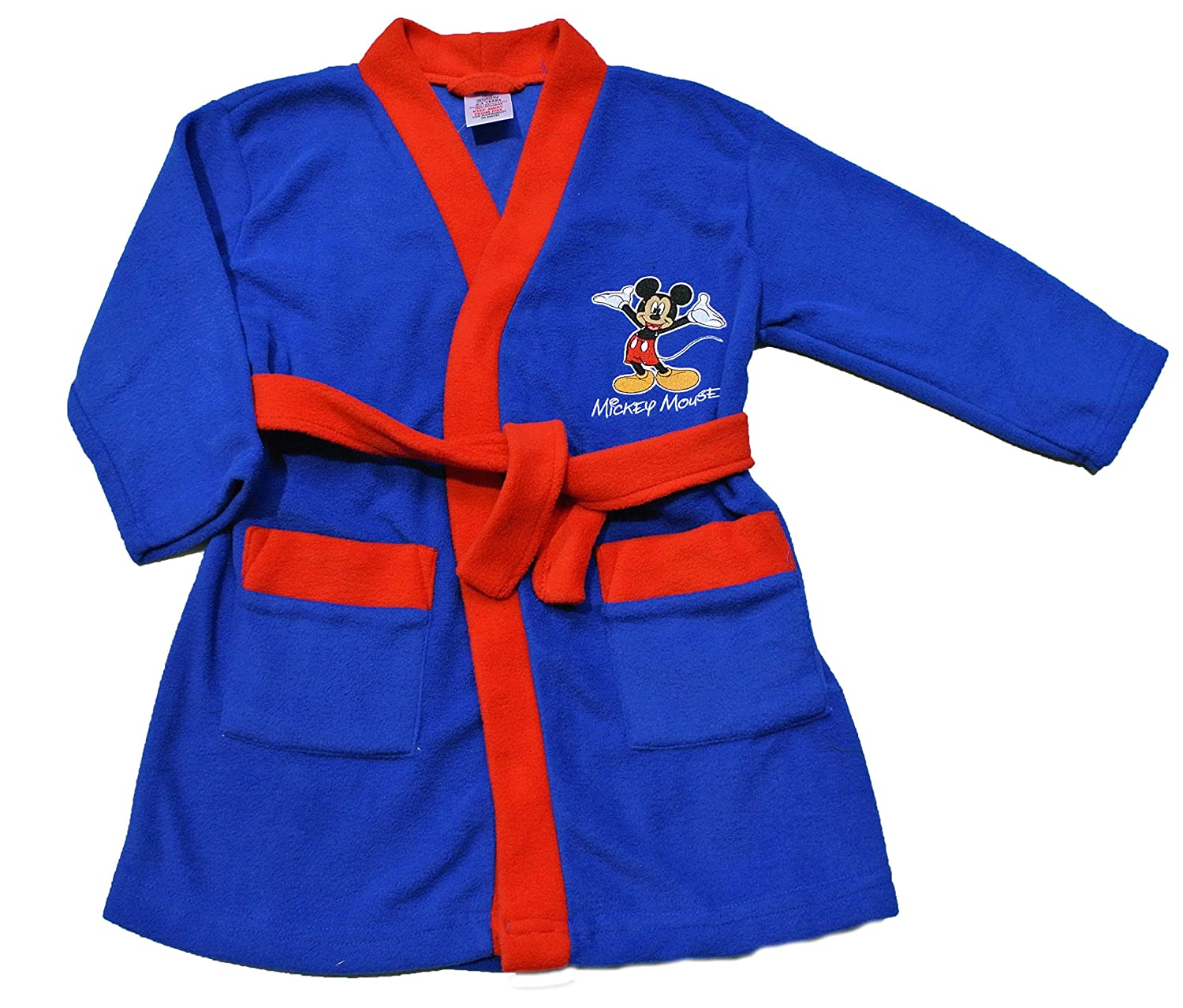 ThePyjamaFactory Boy's Disney Mickey Mouse Dressing Gown, Blue and Red, 1 to 5 Years