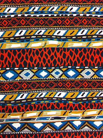e431154009e African Tribal Pattern on Stretch Bulgari Knit Jersey Polyester Spandex  Fabric By the Yard by Triple Textile: Amazon.co.uk: Kitchen & Home