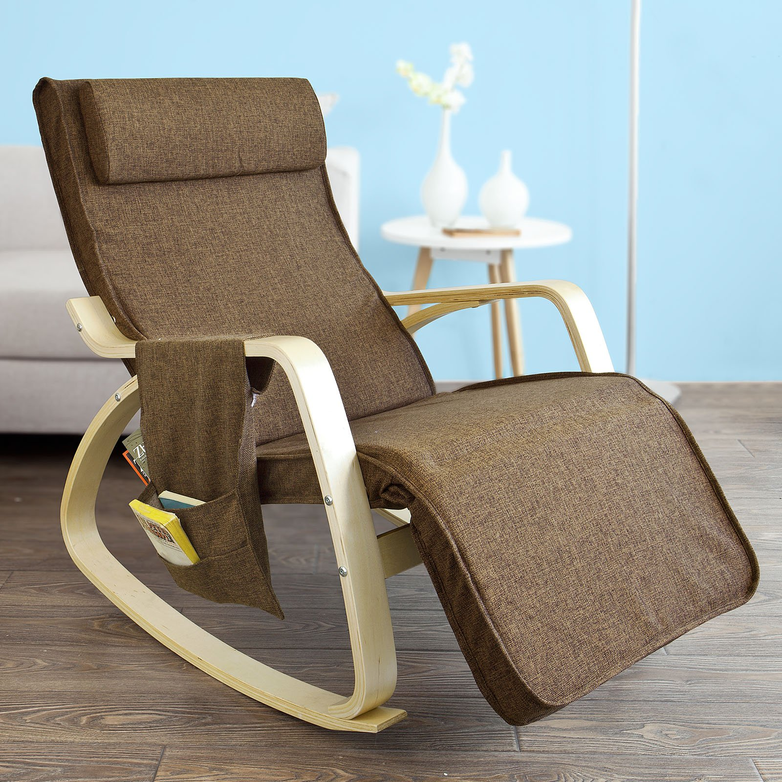 Haotian Comfortable Relax Rocking Chair, Gliders,Lounge Chair Recliners with Adjustable Footrest & Side Pocket,FST18 (FST18-BR)