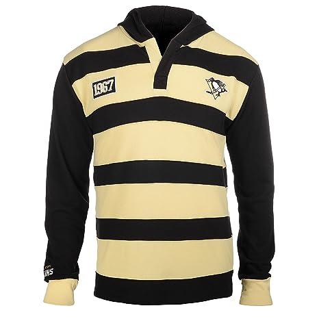 394b914ffe Pittsburgh Penguins NHL KLEW Men's Striped Rugby Pullover Hoodie, Black ( Black, ...