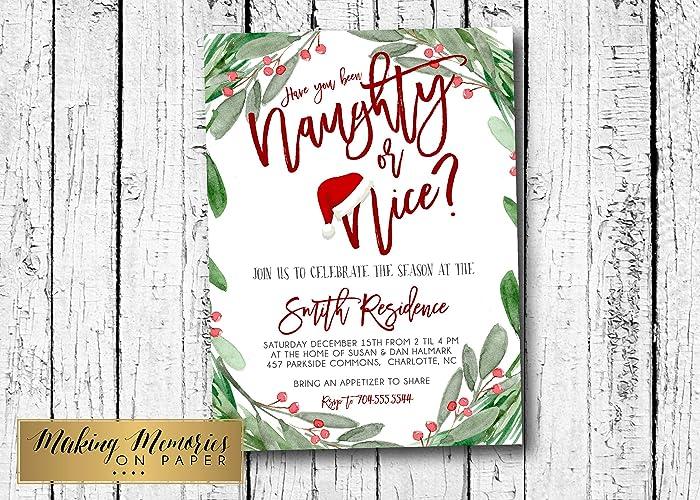 Amazon Com Naughty Or Nice Christmas Party Invitation Editable