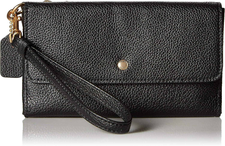 COACH Triple Small Wristlet in Polished Pebble Leather Li/Black One Size