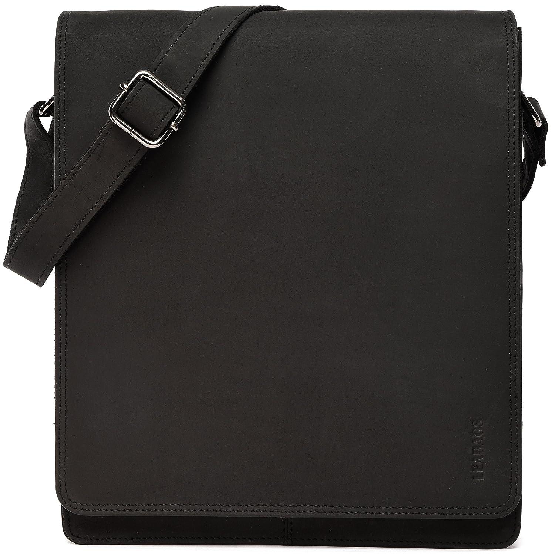 LEABAGS London Umhängetasche Umhängetasche Umhängetasche Schultertasche 13 Zoll Laptops aus Leder im Vintage Look, Large, Schwarz B07DWTPCRB Umhngetaschen 162821