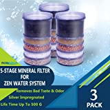 5-Stage Replacement Mineral Filter Cartridge for Zen Countertop & Water Coolers (Set of 3)