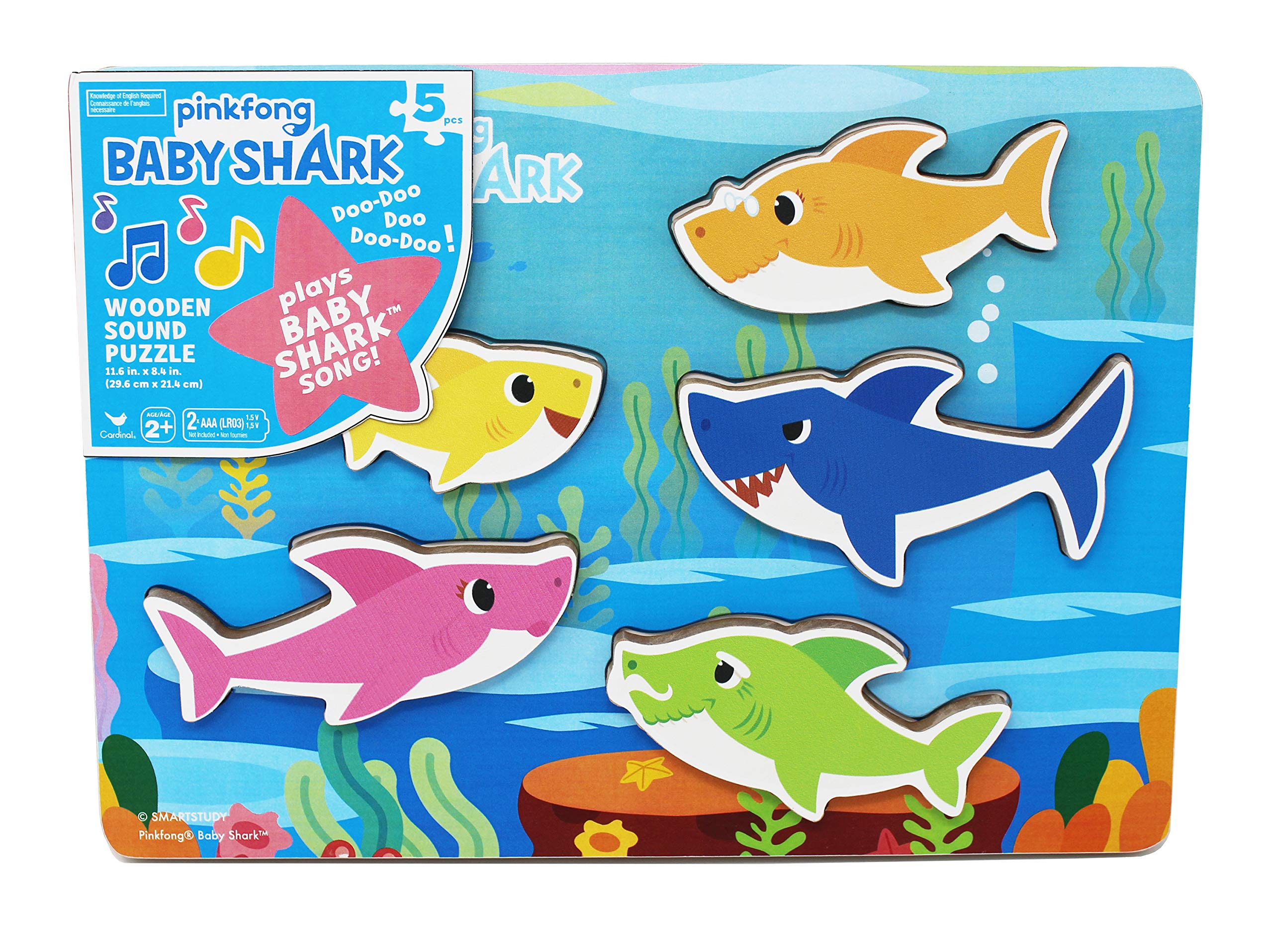 Cardinal Industries 6053347 Pinkfong Baby Shark Chunky Wooden Sound Puzzle - Plays The Baby Shark Song, Multicolor by Cardinal Industries