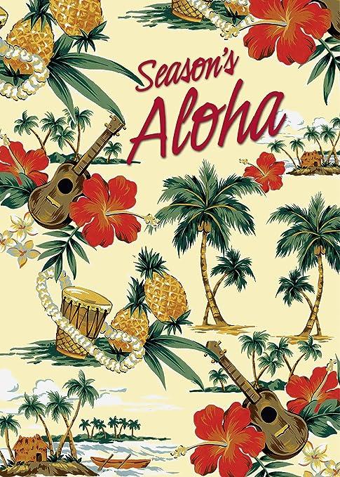 holiday island scene set of 12 hawaiian christmas cards - Hawaiian Christmas Cards