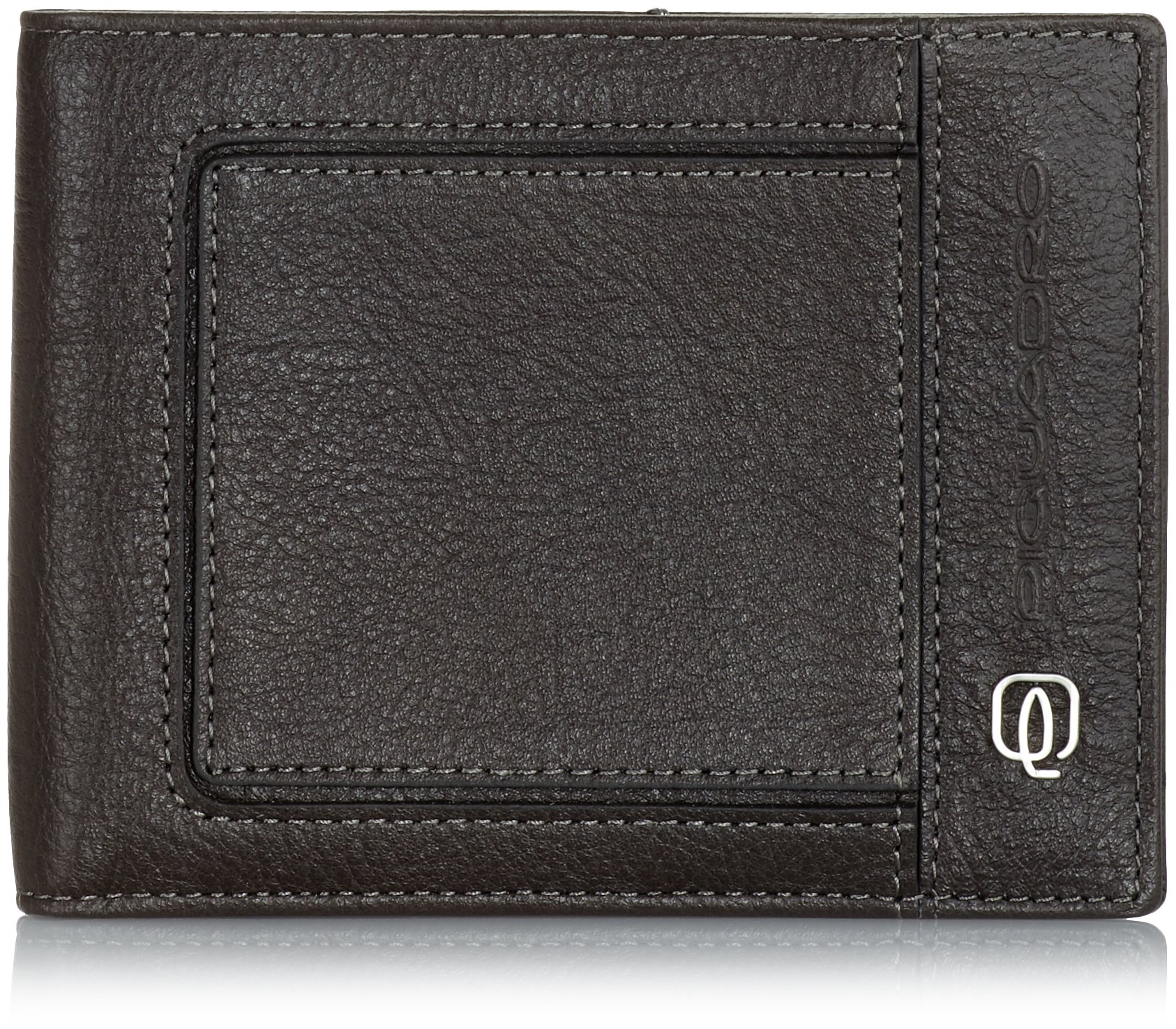 Piquadro Men's Leather Wallet with 12 Credit Card Slots, Grey/Taupe, One Size