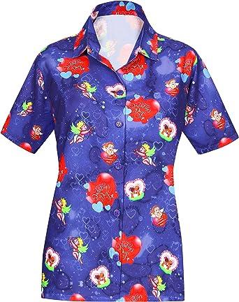 LA LEELA HD Impresión 3D Día de San Valentín Camisa Hawaiana para Mujer Regalo de Fiesta en la Playa para su Blusa Suelta Tops Fecha romántica