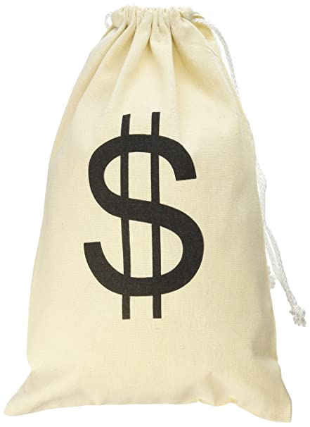 a8bffd90a779 Super Z Outlet Large Canvas Natural Money Bag Pouch with Drawstring Closure  and Dollar Sign Design