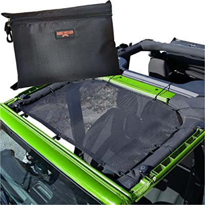 BADASS MOTO Jeep Wrangler JK Accessories, Jeep Sunshade Mesh Bikini Top Cover. Easy Install Sun Shade Keeps You Cool. Add Comfort, UV + Wind & Noise Protection. Free Stuff Bag. Great Jeep Lover Gifts: Automotive