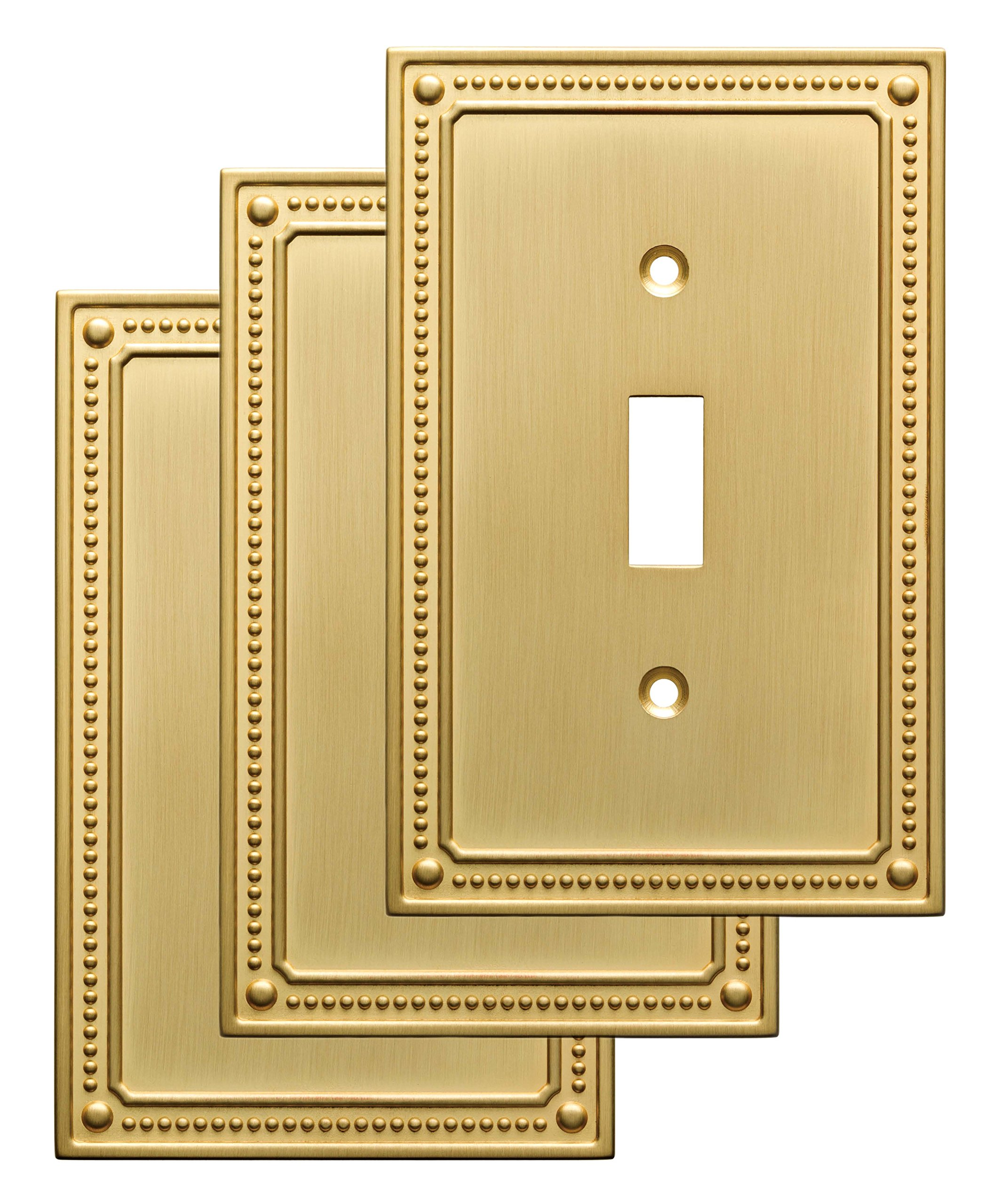 Franklin Brass W35058V-BB-C Classic Beaded Single Switch Wall Plate/Switch Plate/Cover (3 Pack), Brushed Brass