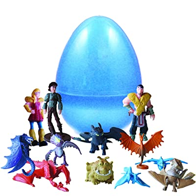 PLAYOLY 12 pcs Toy Filled How to Train Your Dragon and Character Playset Figure 1-2 Inches Inside Jumbo Plastic Easter Egg - Perfect for Egg Surprise Party Favor, Easter Egg Hunt, or Stocking Stuffer: Toys & Games
