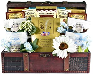 Gift Basket Village The Christian Heart - A Christian Gift Basket with Coffee Mugs, Journal and Comfort Foods in Wooden Trunk, 8 Pounds