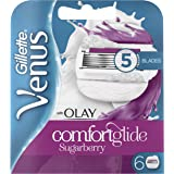 Gillette Venus Comfortglide Sugarberry with Olay 2-in-1 Women's Razor Blades and Shaving Gel Bars, No Shave Cream Needed (Packaging May Vary) - 6 Pack