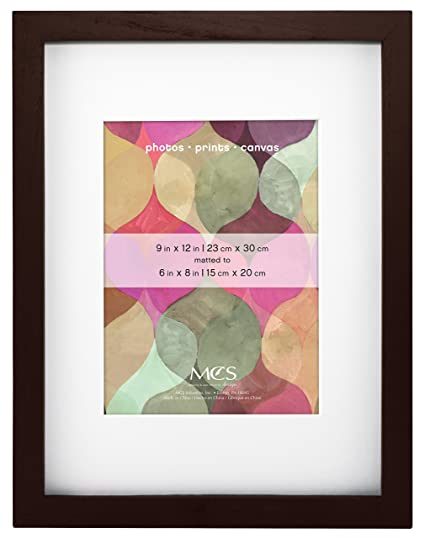 MCS 9x12 Inch Art Frame with 6x8 Inch Mat Opening, Walnut (47585)