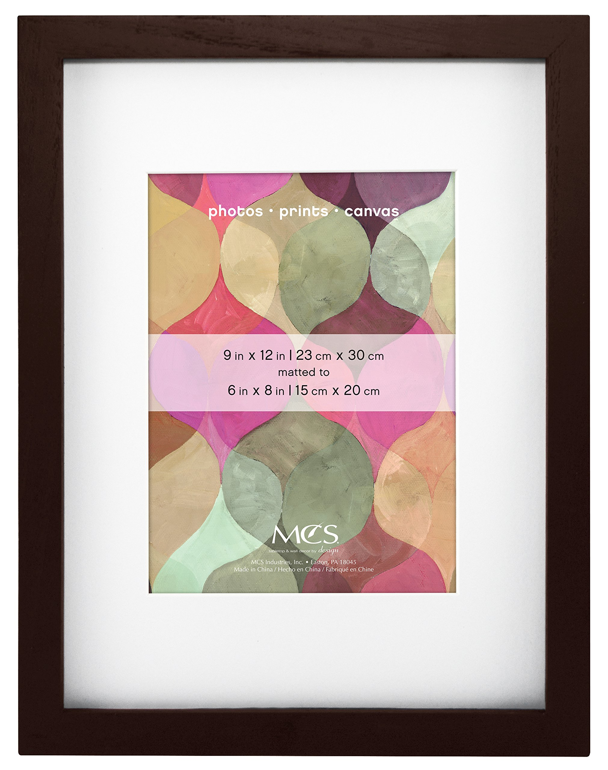 MCS 9x12 Inch Art Frame with 6x8 Inch Mat Opening, Walnut (47585) by MCS
