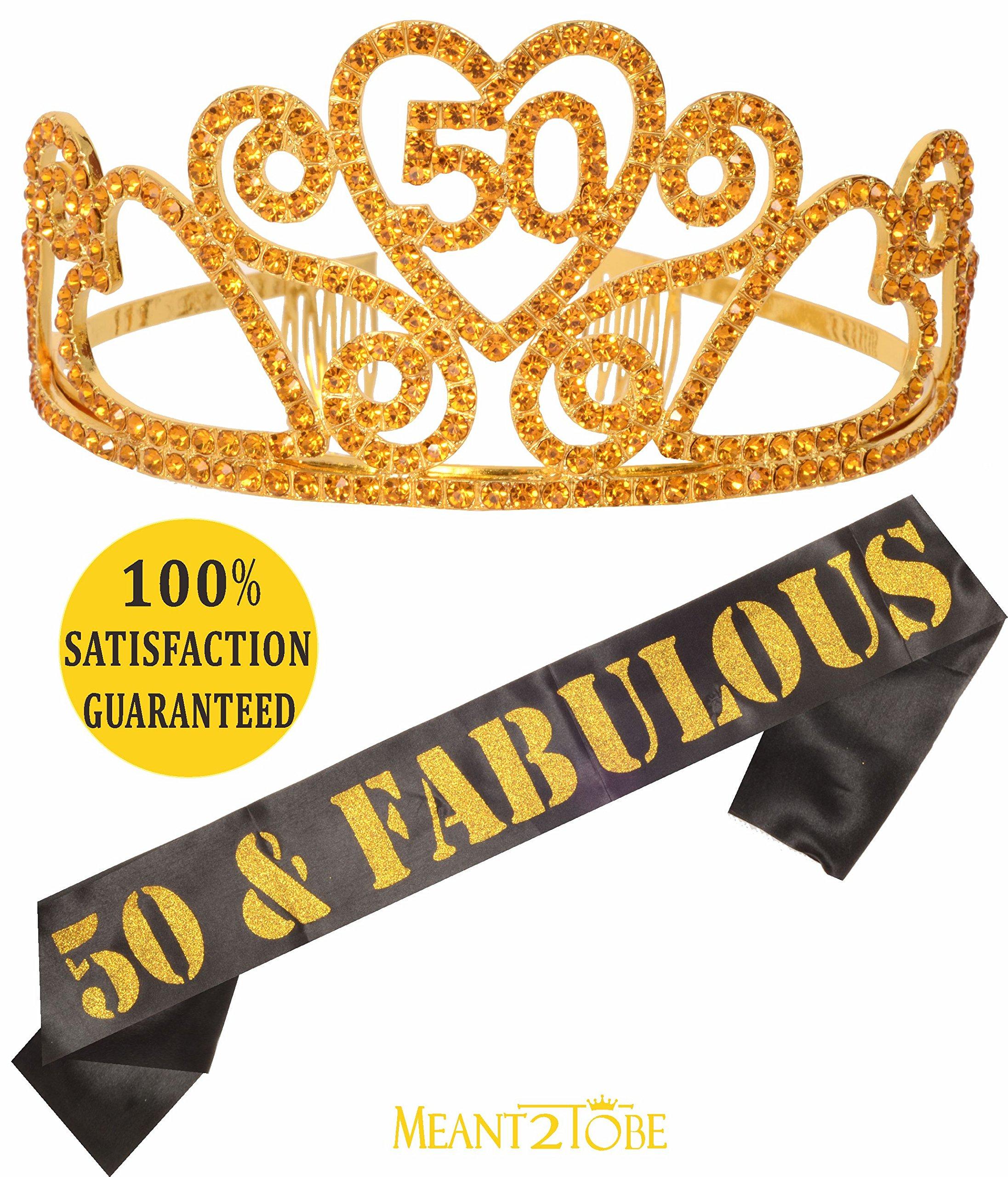 Gold 50th Birthday Tiara and Sash, HAPPY 50th Birthday Party Supplies, 50 & Fabulous Black Glitter Satin Sash and Crystal Tiara Birthday Crown for 50th Birthday Party Supplies and Decoration