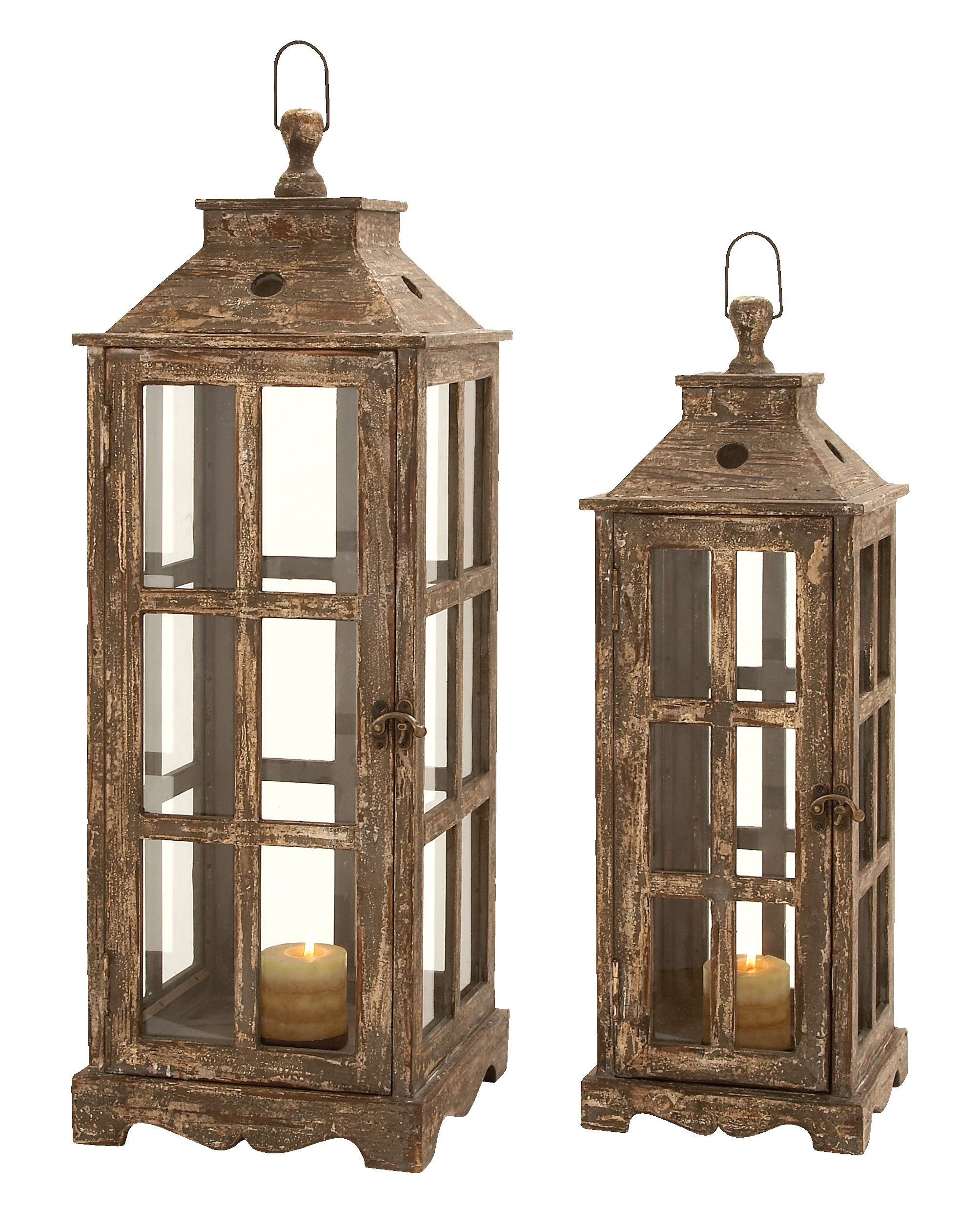 Deco 79 Wood Glass Lantern, 33 by 27-Inch, Brown, Set of 2 by Deco 79 (Image #1)
