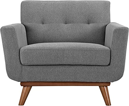 Amazon Com Modway Engage Mid Century Modern Upholstered Fabric Accent Arm Lounge Chair In Expectation Gray Furniture Decor
