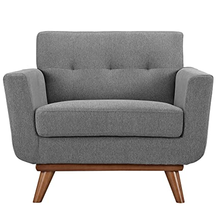 Modway Engage Mid Century Modern Upholstered Fabric Armchair In Expectation  Gray
