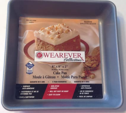 "WearEver Square Cake Pan 67680 Silvestone Non-Stick New 8"" ..."