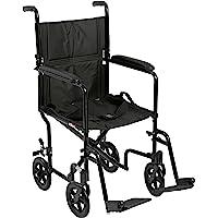 """Drive Medical lightweight aluminum transport Wheelchair, 17"""", Black, 1 Each 1 count"""