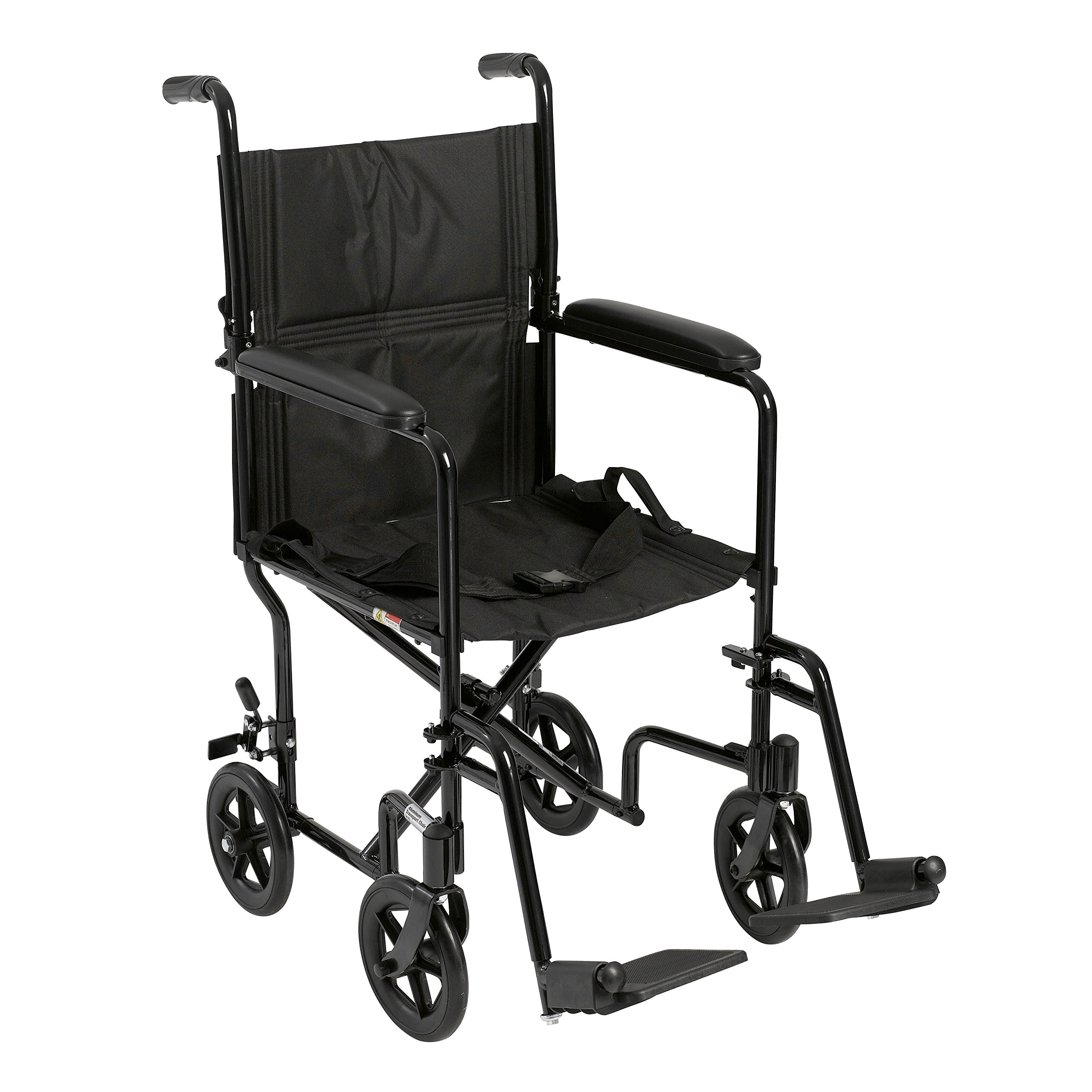 Drive Medical Deluxe Lightweight Aluminum Transport Wheelchair, Black, 17'' by Drive Medical