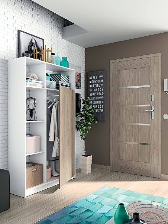Armario recibidor Color Blanco Brillo y Cambrian con 5 estantes y Barra Interior, Mueble de Entrada. 187cm Altura x 100cm Ancho x 35cm Fondo: Amazon.es: ...