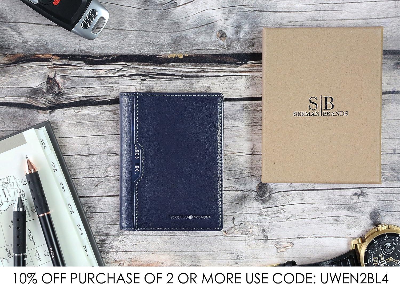 SERMAN BRANDS Wallets for Men Slim Mens leather RFID Blocking Minimalist Card Front Pocket Bifold Travel Thin