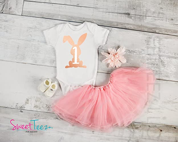 Amazon First Birthday Shirt Girl Bodysuit Personalized Rose Gold Easter Bunny For Baby 1st Gift Outfit Handmade