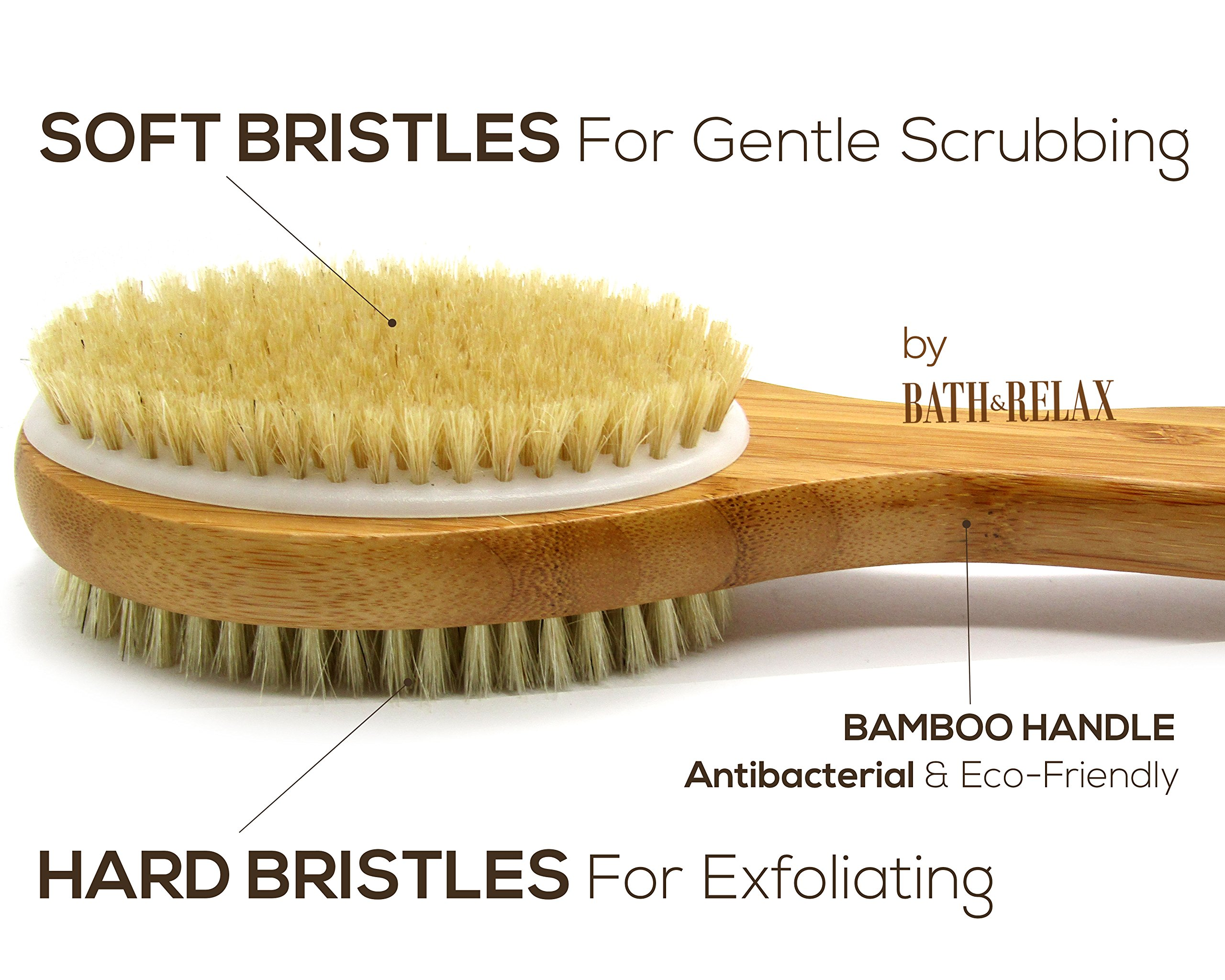 Bath & Relax Bamboo Bath Brush Long 17'' Handle Back Body Scrubber For shower dry/Wet Skin brushing Suitable for men/women by Bath & Relax (Image #2)