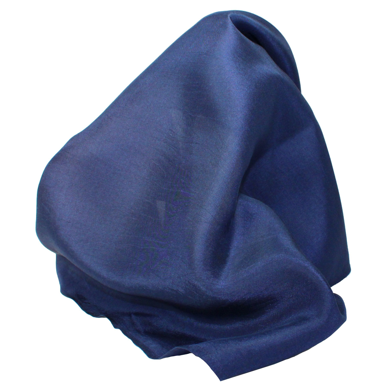 Classic Navy Blue Silk Handkerchief - Full-Sized 16''x16''