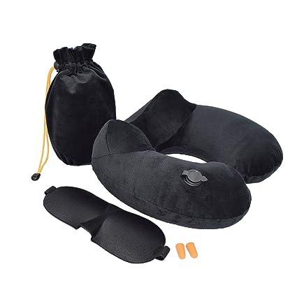Almohada de viaje inflable de Nomalite | Cojín cuello hinchable de suave terciopelo con inflador. Funda 3 en 1: incluye antifaz y tapones. Soporte ...