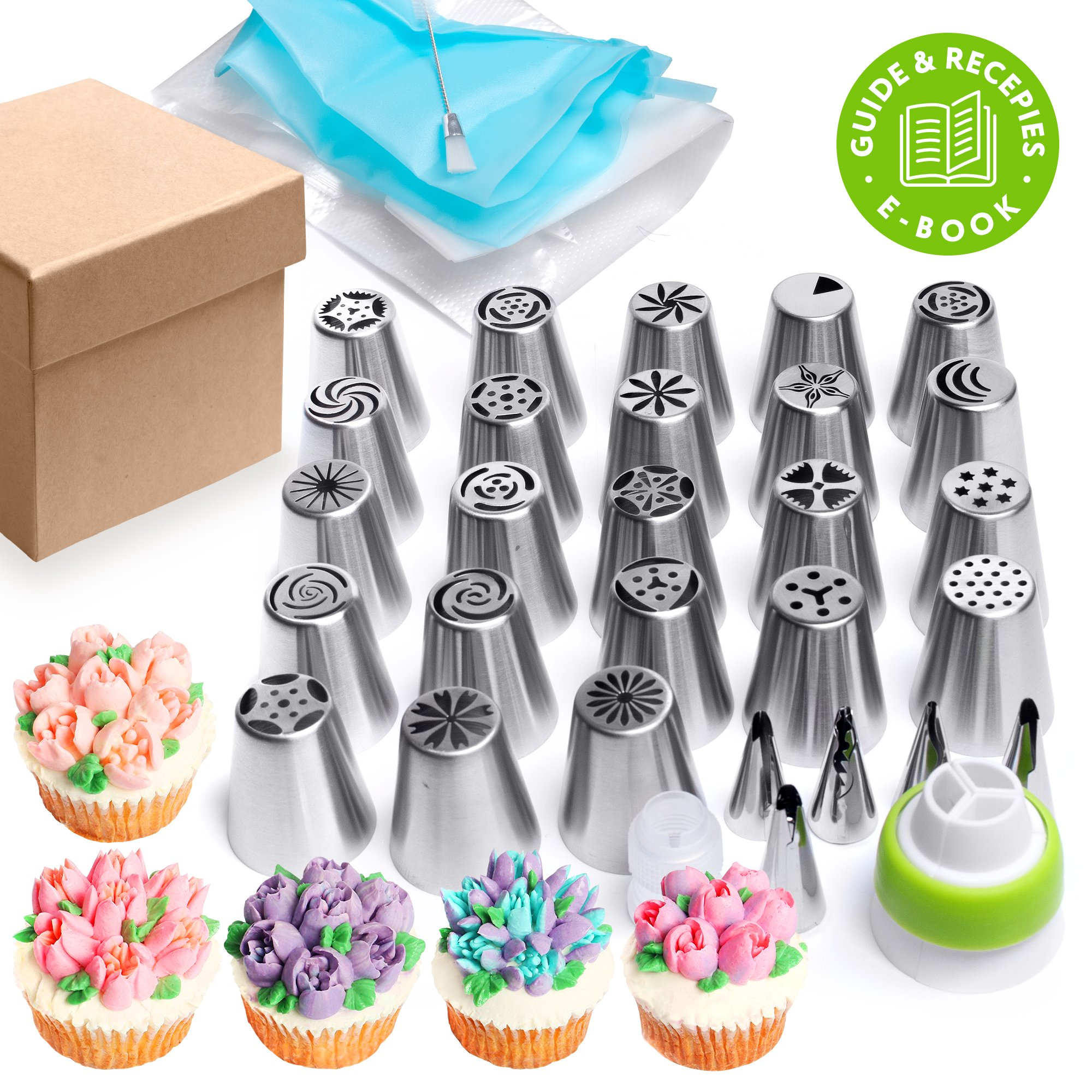 Russian piping tips Set 44 pcs - Cakes decorating supplies - Cupcake decorating - 20 Icing nozzles - 5 Ruffle piping tips - 15 Pastry disposable bags - 2 Couplers + brush