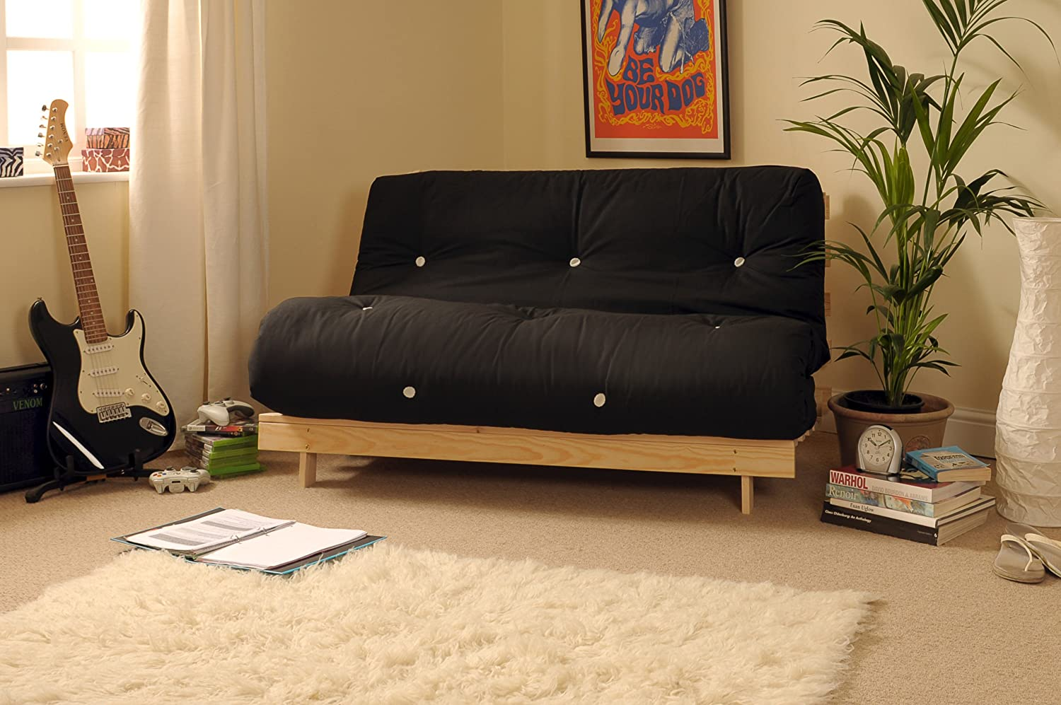 4ft6 (135cm) Double Wooden Futon with BLACK Mattress Comfy Living