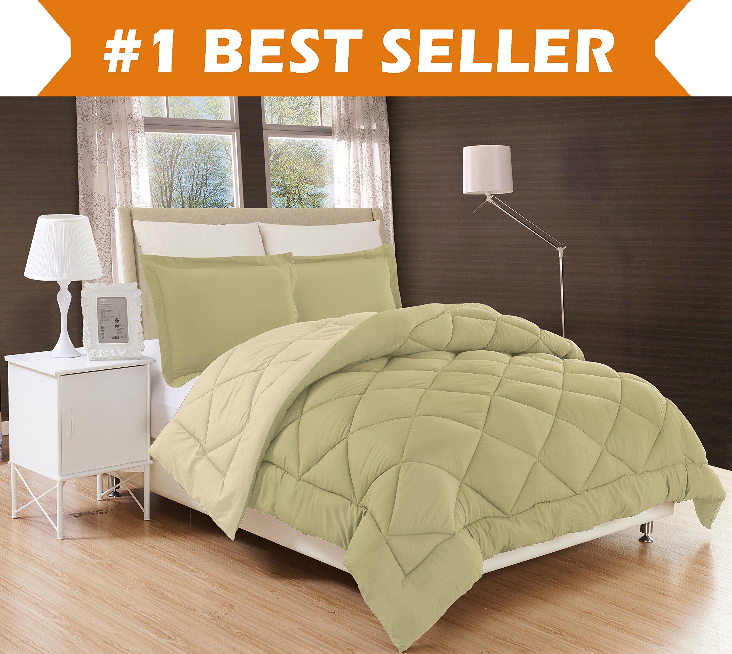 Elegant Comfort All Season Comforter and Year Round Medium Weight Super Soft Down Alternative Reversible 2-Piece Comforter Set, Twin/Twin XL, Sage/Cream