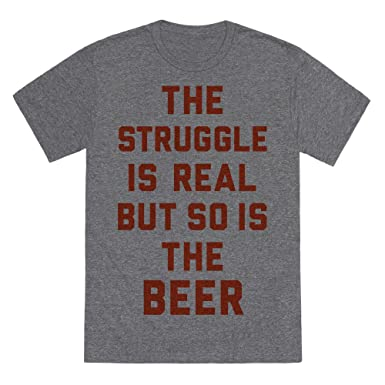 df34df0f3 LookHUMAN The Struggle is Real But So is The Beer Heathered Gray 2X  Mens/Unisex