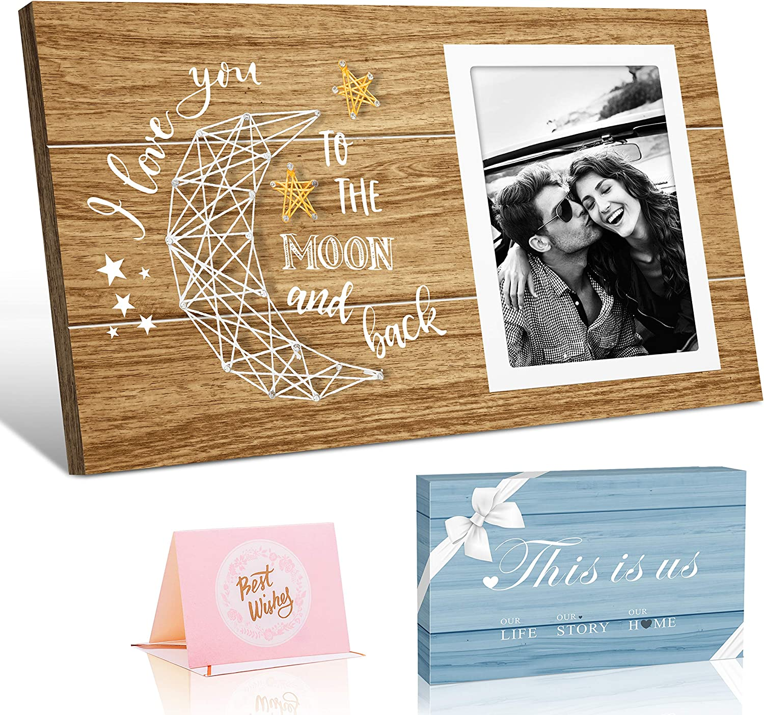 Fishing Couple Gift Engraved Quotes Love Picture Frame Him Husband You Caught My Heart Anniversary Gift for Boyfriend Rustic Photo Frame