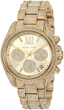 ae5d8cee8c4c Michael Kors Women s Mini Bradshaw Gold-Tone and Pavé Crystal Chronograph  Watch MK6494
