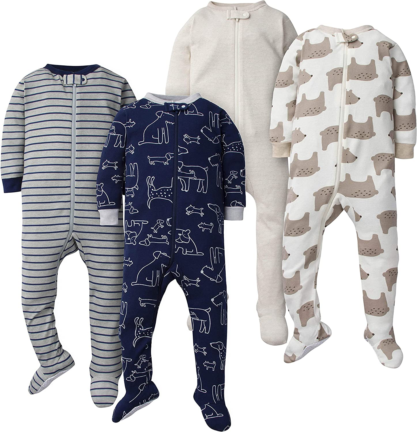 GERBER Baby Boys 4-Pack Footed Unionsuit