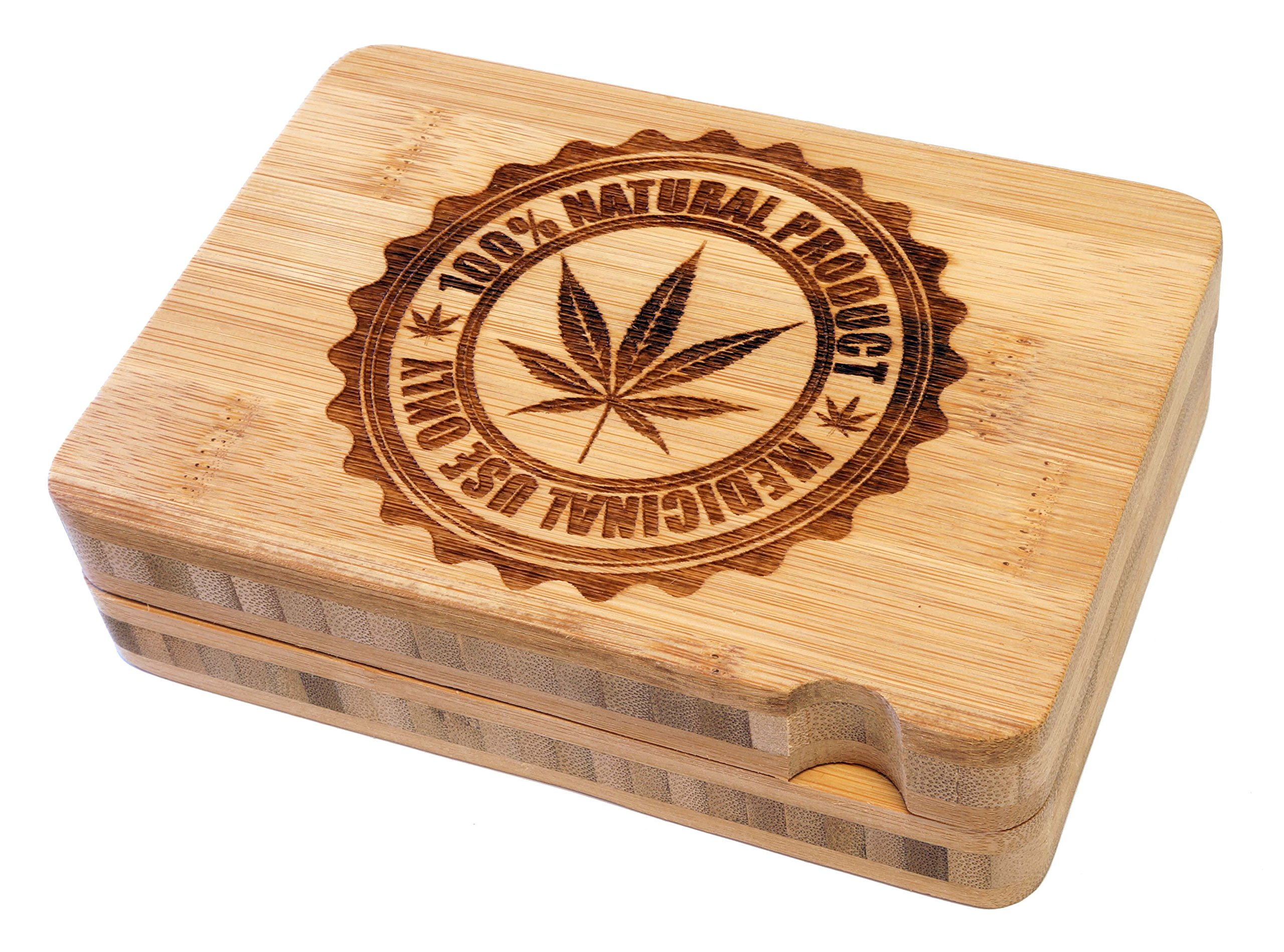 Micro Crusher High Quality Two Piece Magnetic Bamboo Rolling Tray - 100 Natural Design - Item # RT-002
