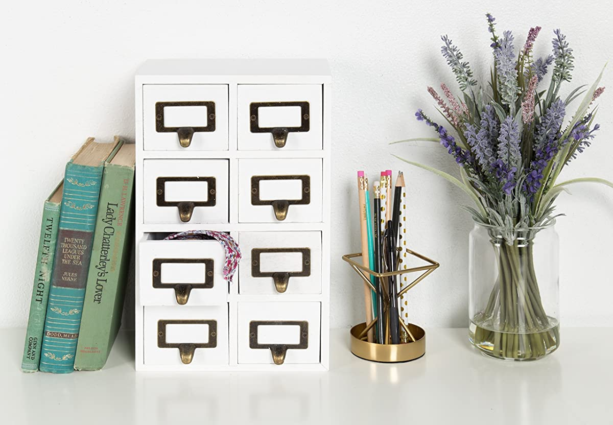Kate and Laurel Apothecary Wood Vertical Desk Drawer Set, 8 Drawers, White