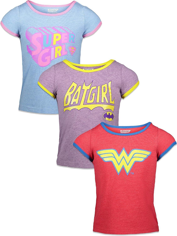 DC Comics Girls 3 Pack T-Shirts Vintage Wonder Woman Batgirl Supergirl