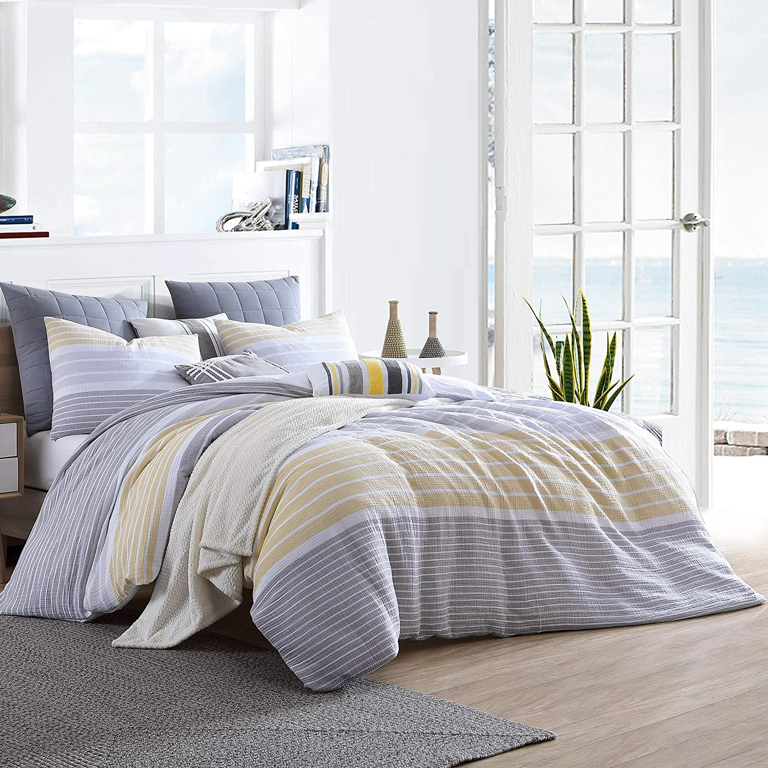 Swift Home Cordelia Prewashed Yarn-Dyed 100% Cotton Gauze Stripe Duvet Cover Set, Oeko-Tex Certified, Ultra Soft and Breathable, Button Closure, All Season - Yellow, Twin/Twin XL (68
