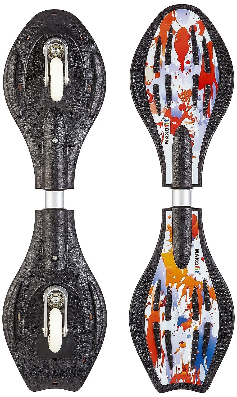 MAXOfit Waveboard Pro Close Mini Fire, Bis 129 Kg mit Leuchtrollen und Tasche - Monopatín de waveboard (129 kg) 15003